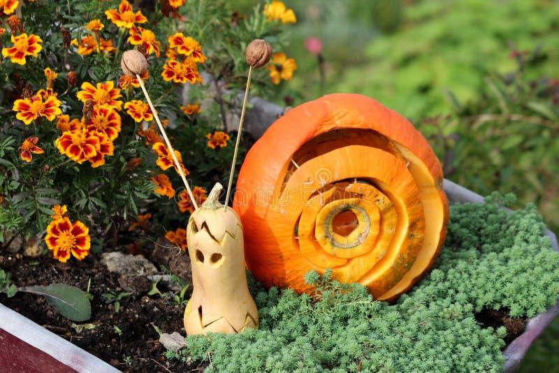 Halloween-decoratie maakte van pompoen en pompoen om op leuke slak in lokale die tuin te lijken met kleurrijke bloemen wordt omri stock afbeeldingen