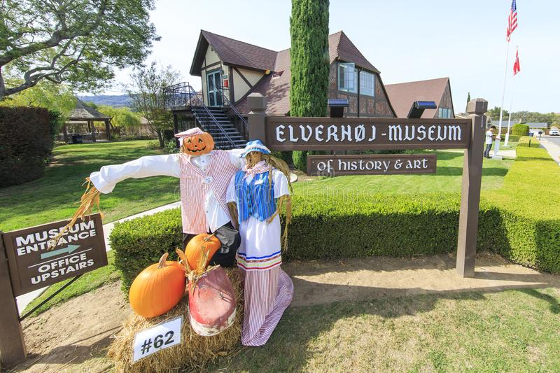 Halloween decoration in front of the Elverhoj museum of history stock photography