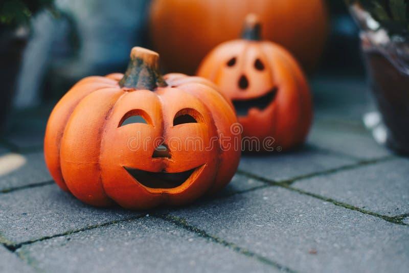 Halloween decoration pumpkin with tea light inside. Happy Halloween royalty free stock photos