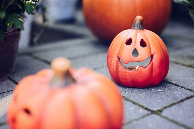 Halloween decoration pumpkin with tea light inside. Happy Halloween stock photo