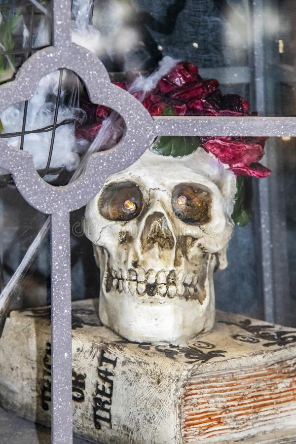 Halloween decoration - Skull with flowers around its head and lighted eyes sits inside a glass case on a Trick or Treat book - sel. Ective focus stock image