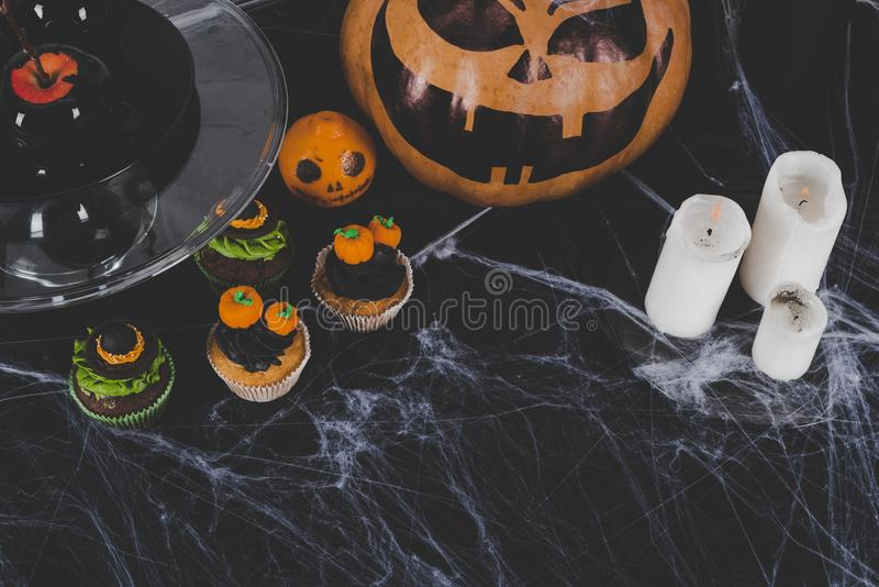 Halloween decorations and candles royalty free stock image