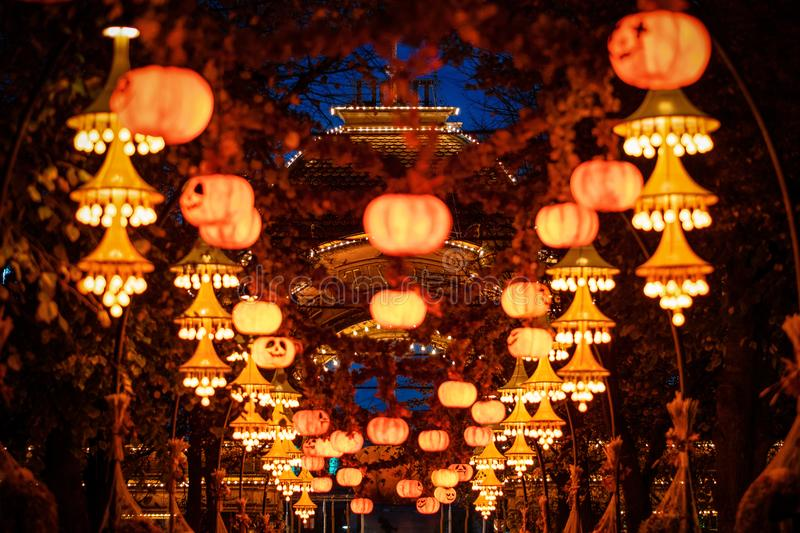 Halloween decorations at night in Tivoli gardens, Denmark stock photography