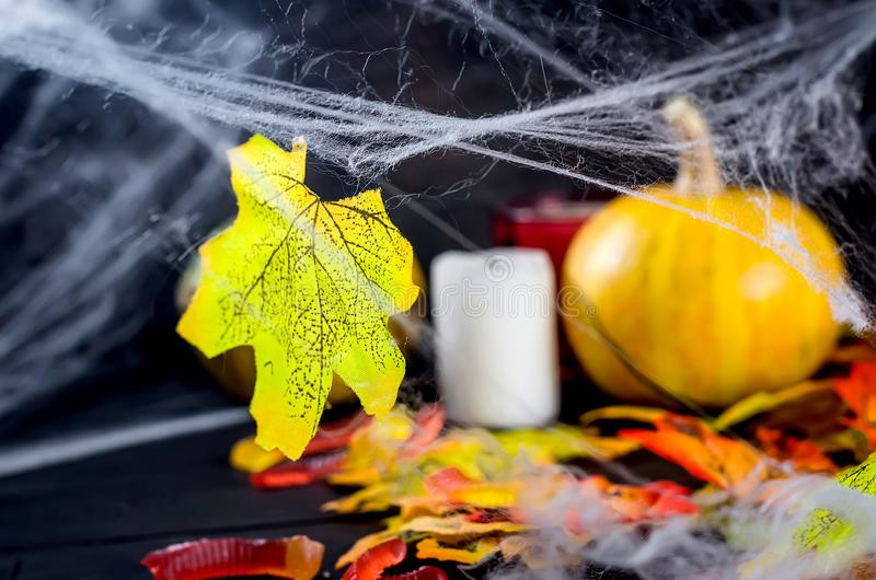 Halloween background with gingerbread, pumpkins and candles. Halloween decorations,pumpkins, variety of gingerbreads,, spider and cobweb on black background stock photos