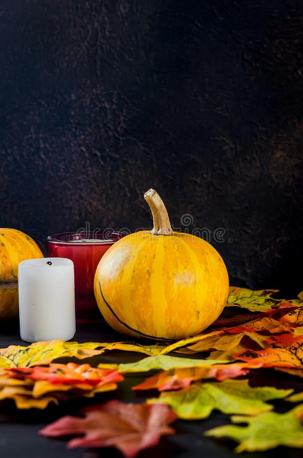 Halloween background with gingerbread, pumpkins and candles. Halloween decorations,pumpkins, variety of gingerbreads,, spider and cobweb on black background stock image