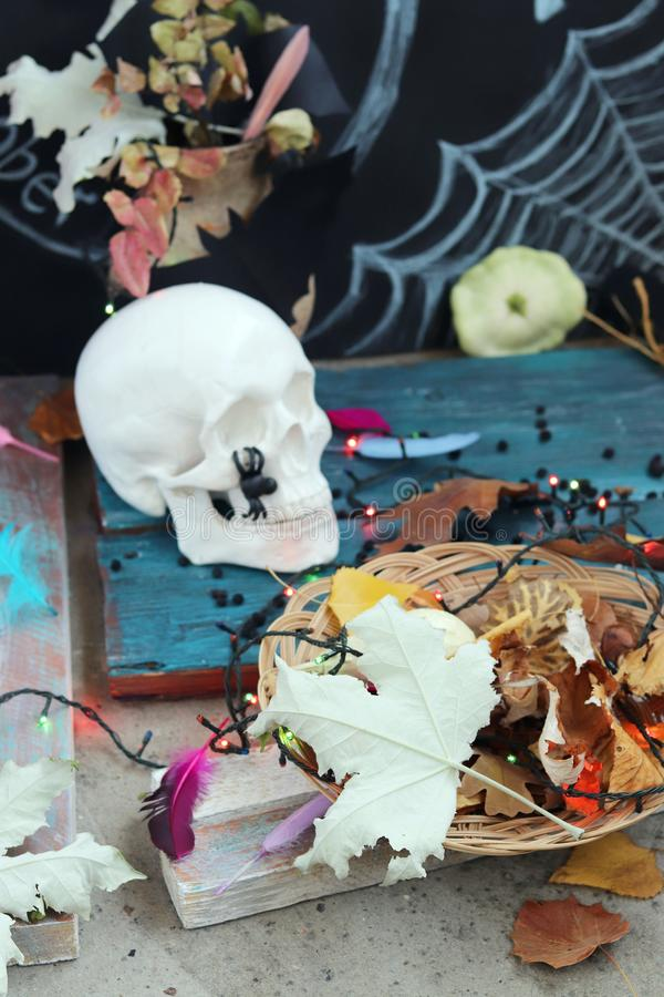 Halloween decorative composition of a skull, autumn leaves, illuminations, a mystical decor stock photo