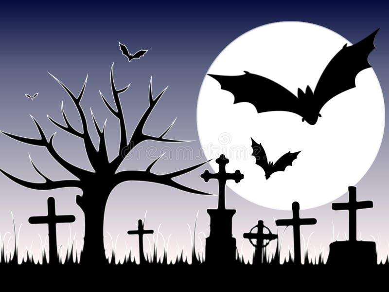 Halloween-Dekor in einem Friedhof mit Schl?ger auf Nachthintergrund vektor abbildung