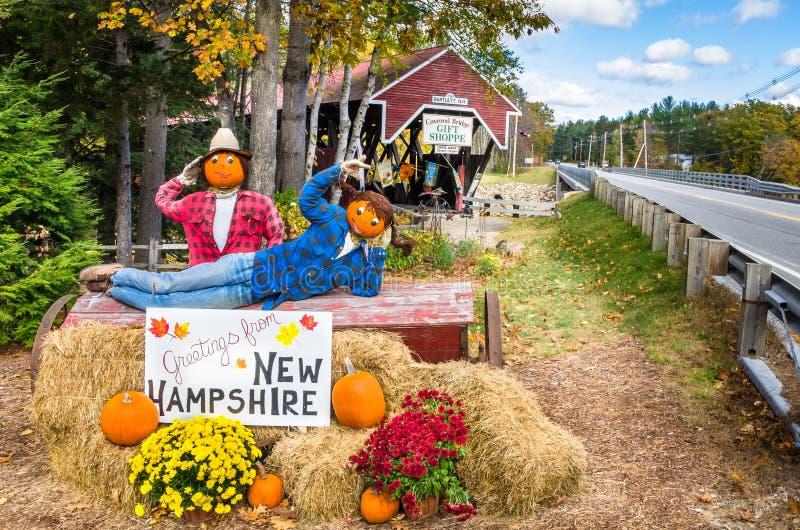 Halloween-Dekoration vor einer überdachten Brücke lizenzfreies stockfoto