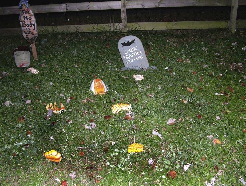 Halloween-Dekorationen in Riverdale-Park, lizenzfreies stockbild