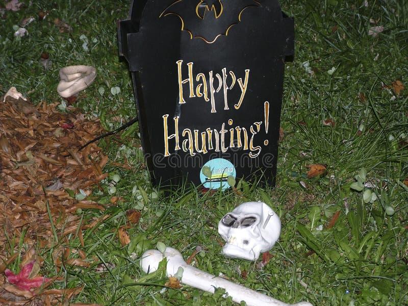 Halloween-Dekorationen in Riverdale-Park, lizenzfreies stockfoto