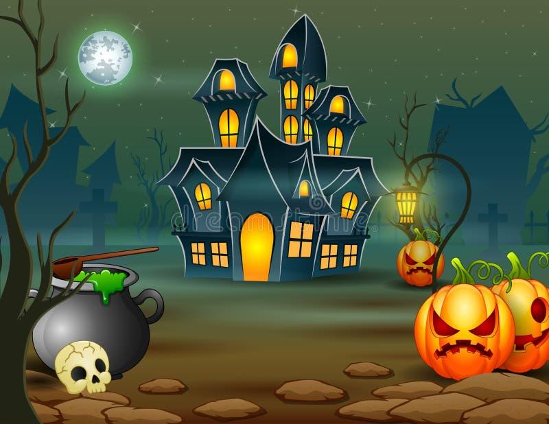Halloween della casa spaventosa con la zucca ed il calderone verde royalty illustrazione gratis