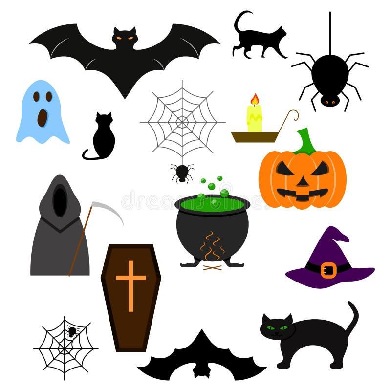 Halloween della malvagità stabilita di colore delle icone illustrazione vettoriale