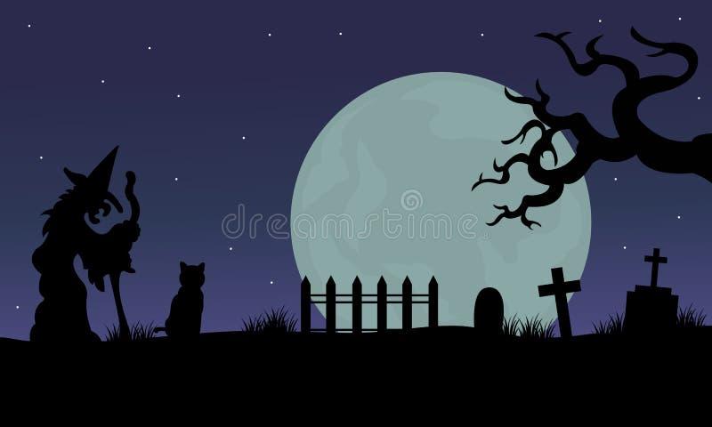 Halloween des Hexen- und Katzenschattenbildes stock abbildung