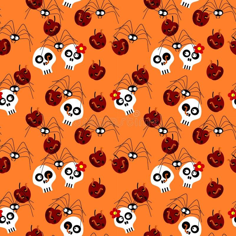 halloween deseniuje bezszwowego Czaszka pająk i przegniły jabłko ilustracja wektor