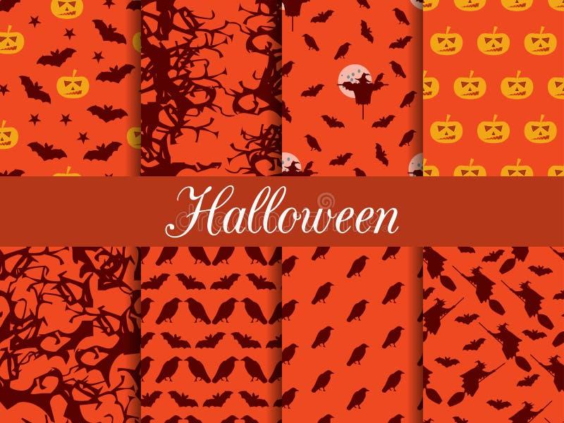 halloween deseniuje bezszwowego Wzór z Lampowym Jack, czarownica z nietoperzami i wronami ilustracja wektor
