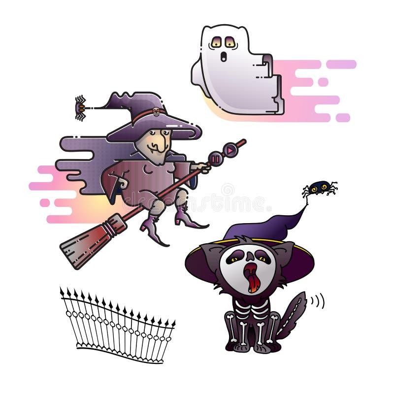 Halloween-Design Bunte Hexe, Gespenst und Katzenikonen Vektor vektor abbildung