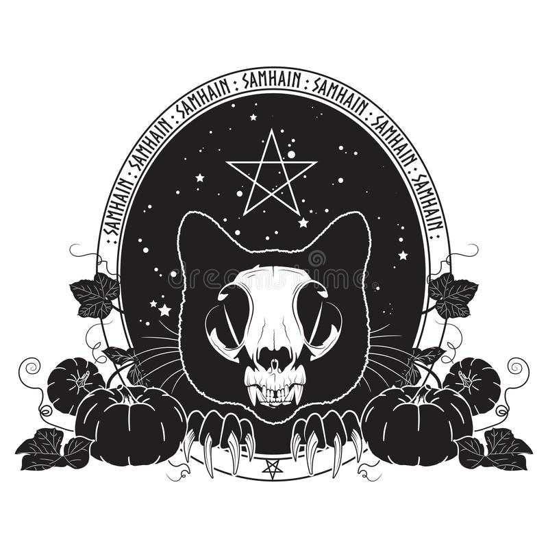 Halloween design. Cat skull against the starry sky and branches and leaves of pumpkin. Samhain design. Halloween design. Cat skull against the starry sky and stock illustration