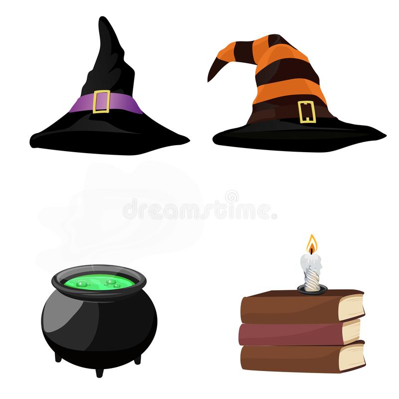 Halloween. Design elements. Set of the witch. Vector illustration royalty free stock images