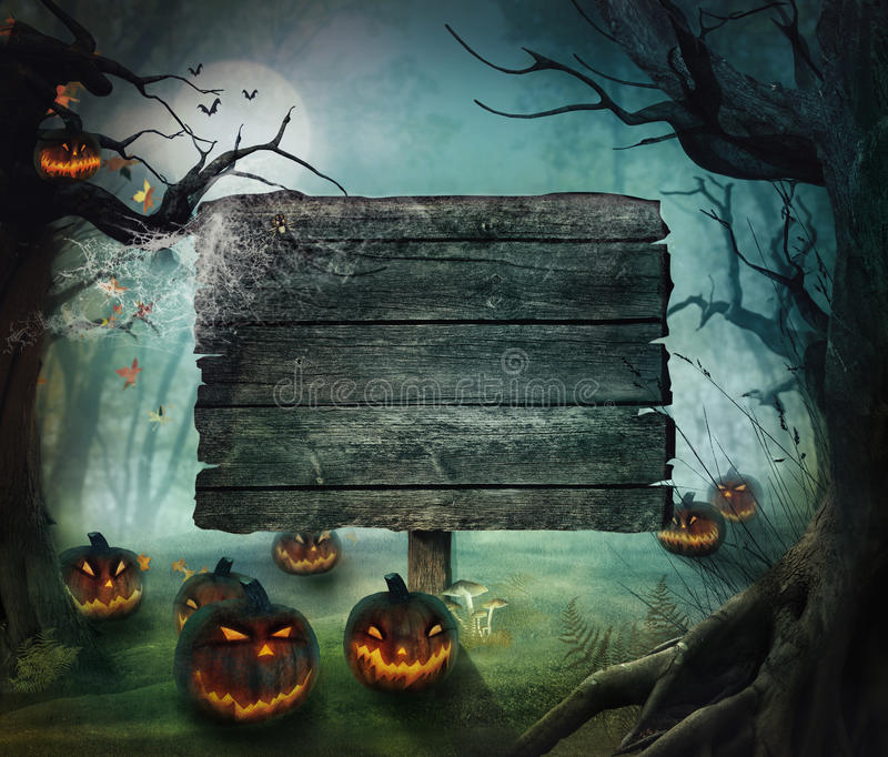 Halloween design - Forest pumpkins royalty free stock photo