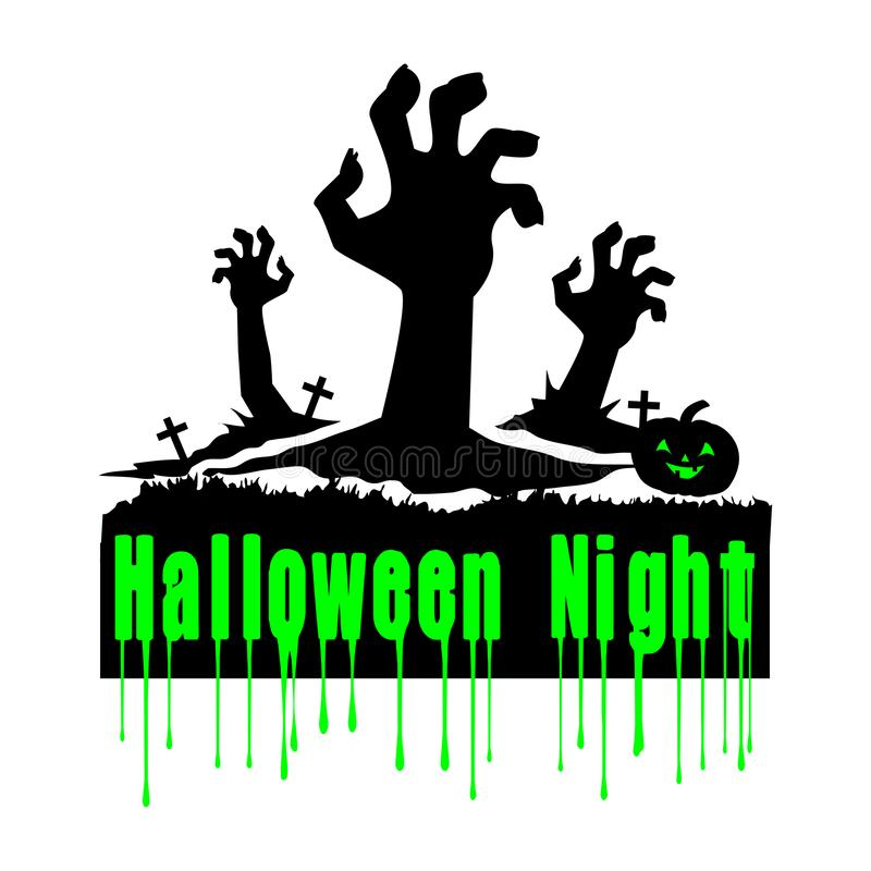 Halloween Night vector design. Halloween design- Halloween Night with halloween slogans for t shirts, postcards,party themes,banners royalty free illustration