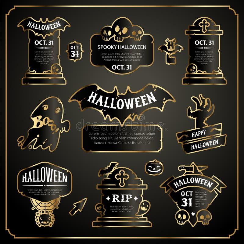 Halloween Design Labels Black and Gold Set royalty free illustration