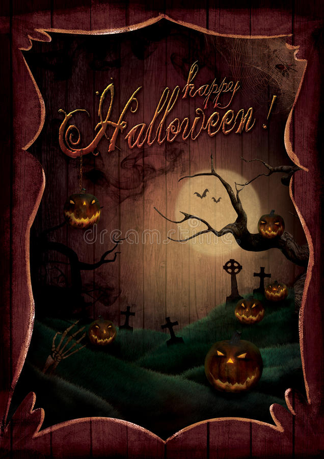 Halloween design - Pumpkins Theatre royalty free illustration