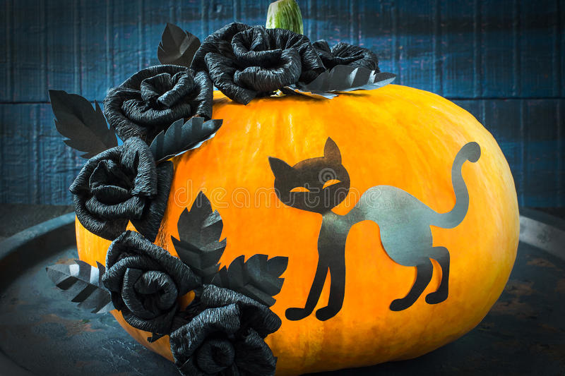 Halloween design. Roses and cat of black paper on the pumpkin royalty free stock photography