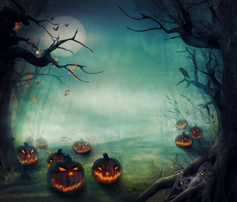 Halloween design - skogpumpor stock illustrationer