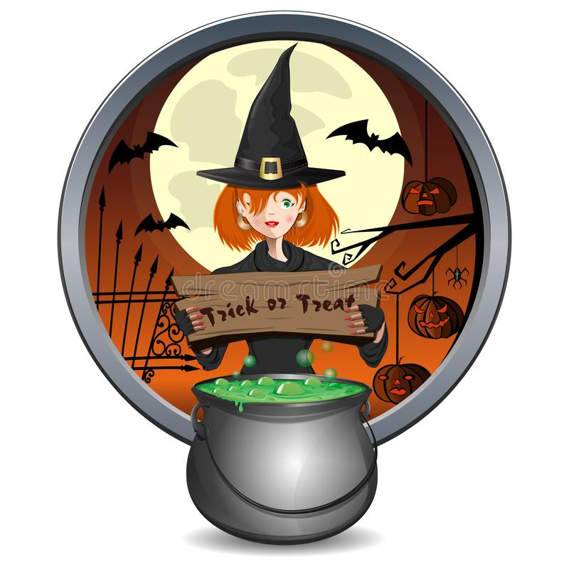 Halloween design. Young witch holding a sign with the inscriptio royalty free illustration