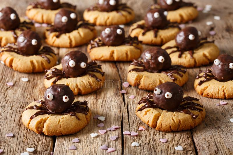 Halloween dessert: shortbread cookies with chocolate spiders close-up. horizontal background stock image