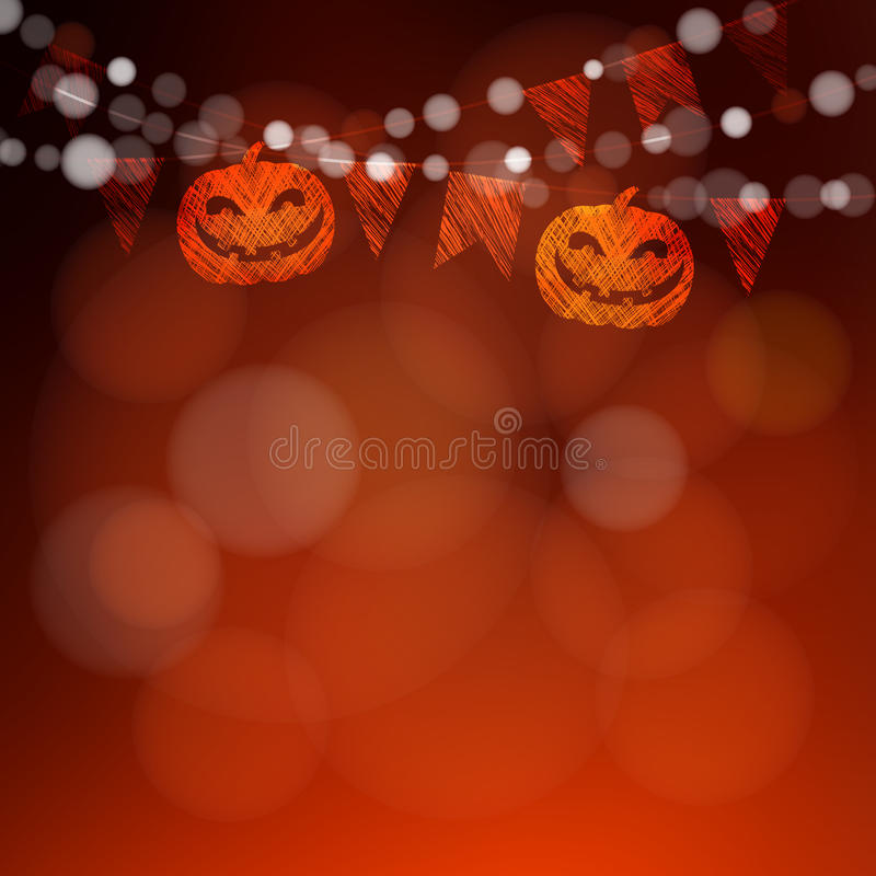 Halloween or Dia de los muertos greeting card, invitation. Party string decoration, pumpkins, flags and lights. Banner, . Halloween or Dia de los muertos vector illustration