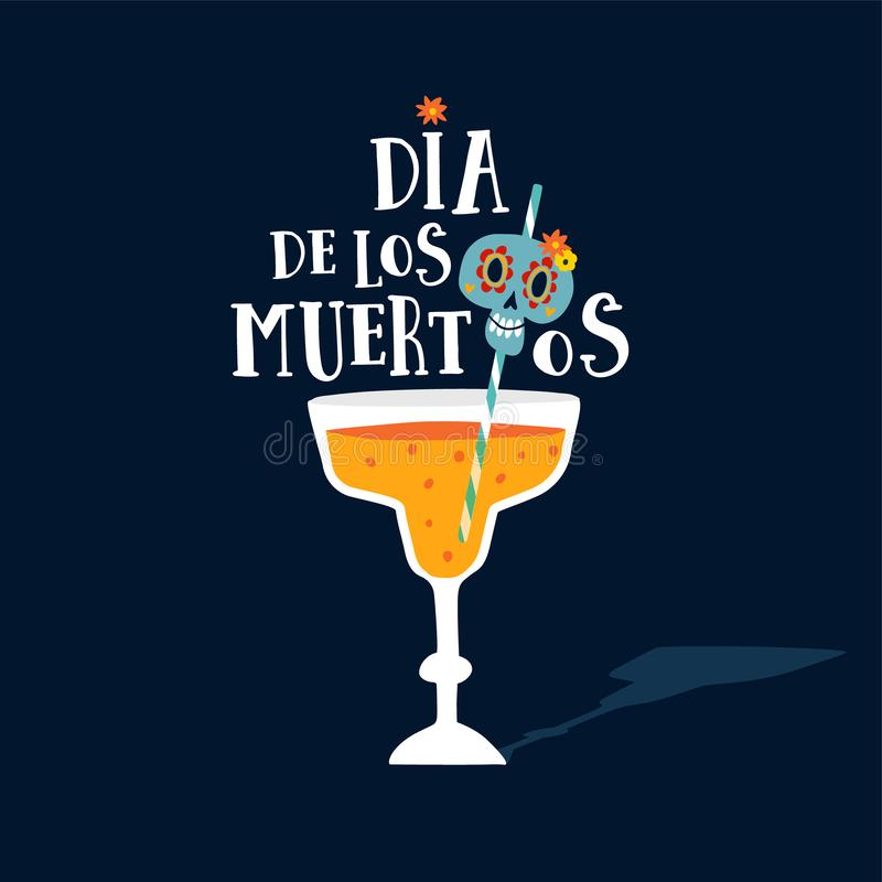 Halloween, Dia de los Muertos greeting card. Mexican Day of the Dead party invitation with glass of cocktail drink and stock illustration