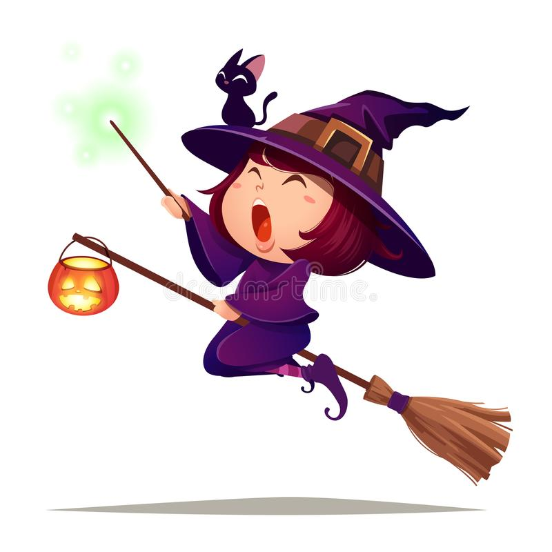 Halloween die weinig heks vliegen Het meisjesjonge geitje in Halloween-kostuum houdt een toverstokje Geïsoleerde royalty-vrije illustratie