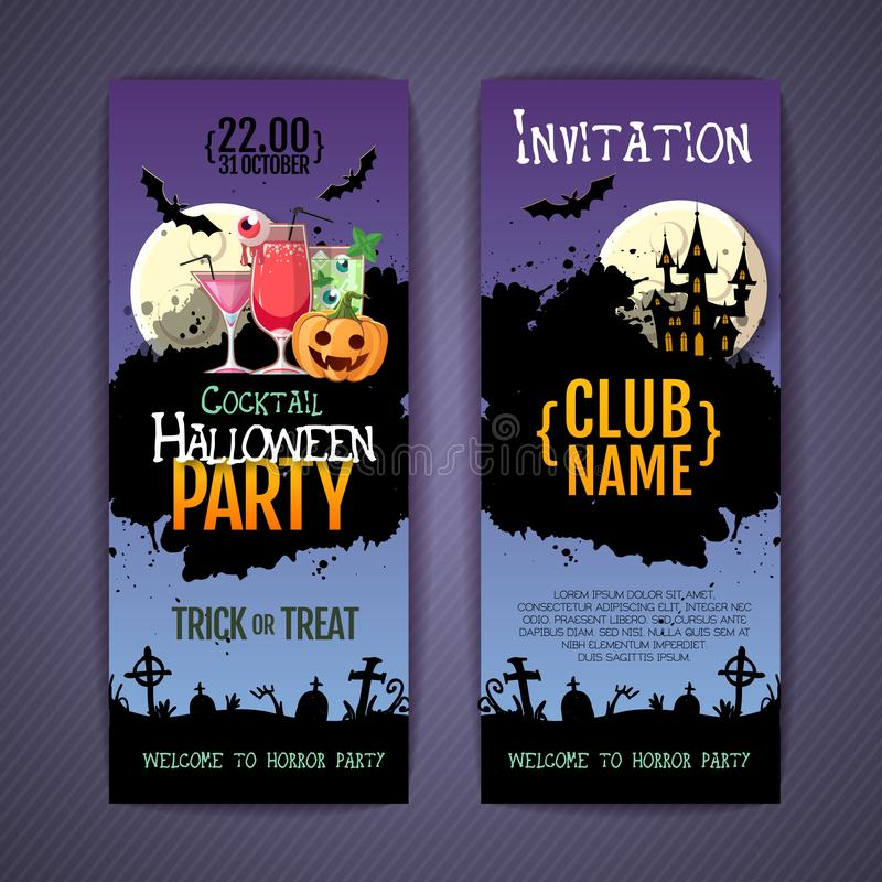 Halloween disco cocktail party poster with jack o lantern pumpkin and full moon. Invitation design. Halloween background. Halloween disco cocktail party poster royalty free illustration