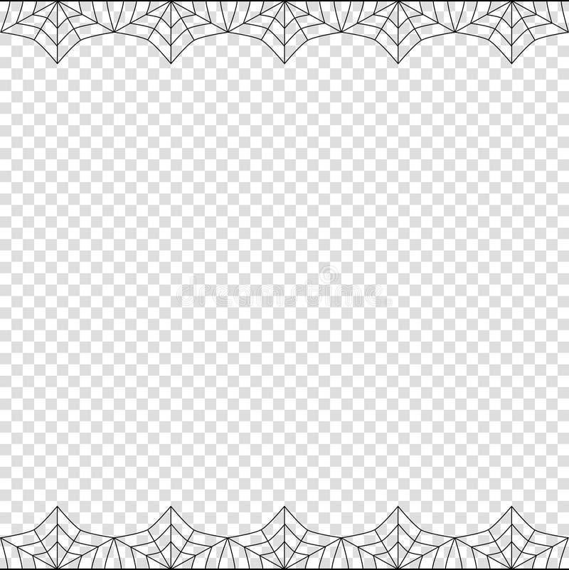 Halloween dobla la frontera del web de araña en el fondo transparente aislado ilustración del vector