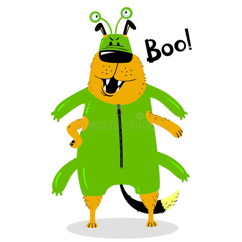 Halloween dog character in the costume of a space alien. stock illustration