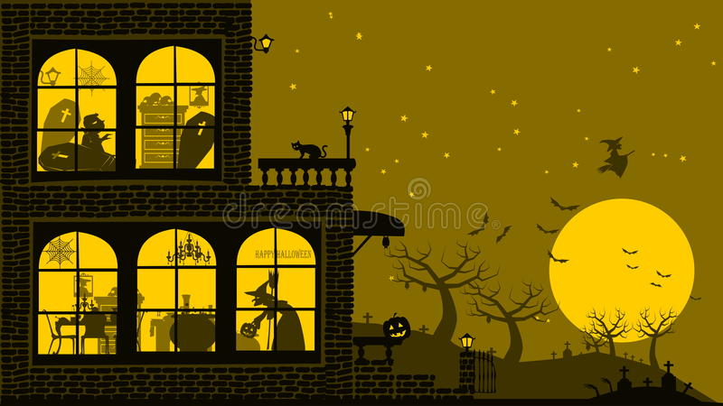 Halloween domu tło ilustracja wektor