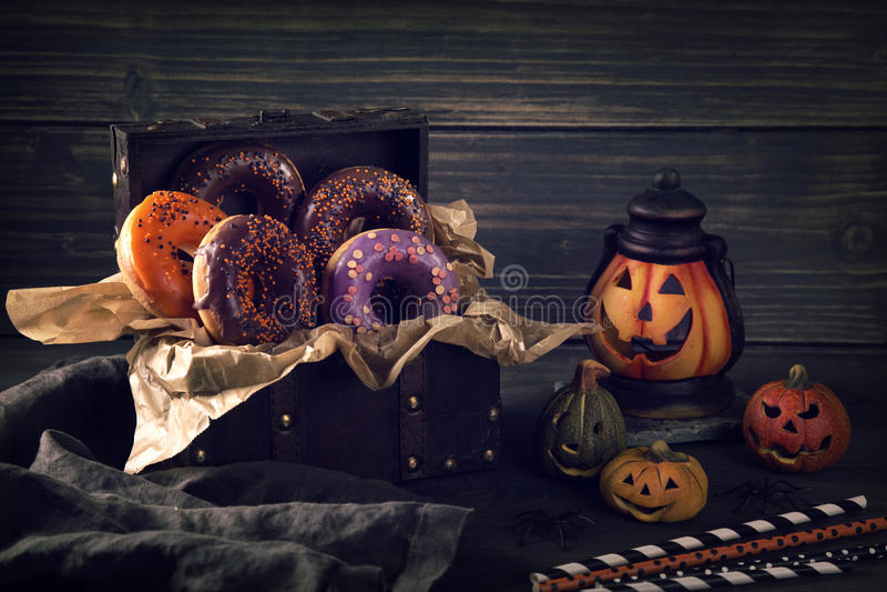 Halloween donuts royalty-vrije stock foto's
