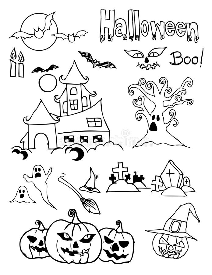 Halloween doodle royalty free stock photo