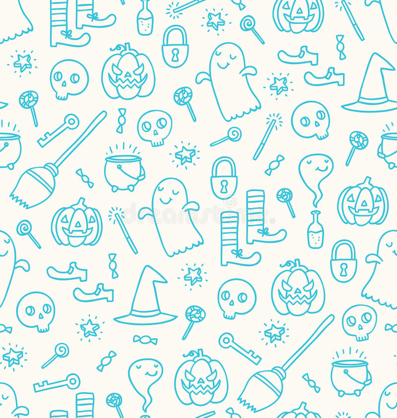 Halloween doodle seamless pattern royalty free illustration