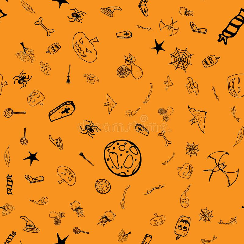 Halloween doodle seamless pattern set isolated on orange background. Outline set of seamless pattern with black Halloween doodle. Elements. Outline collection stock image