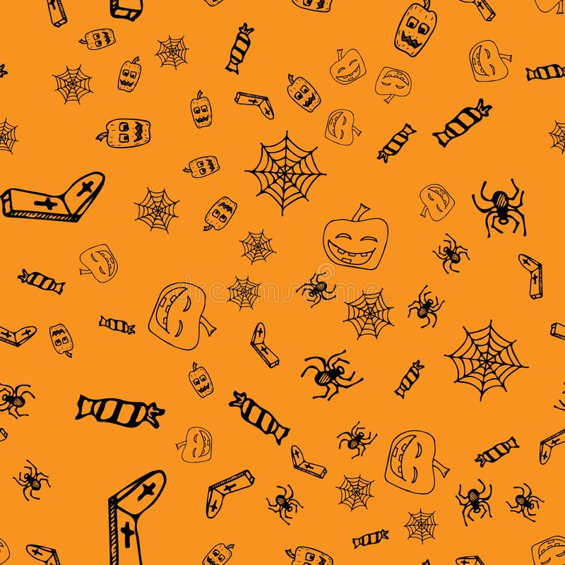 Halloween doodle seamless pattern set isolated on orange background. Outline set of seamless pattern with black Halloween doodle. Elements. Outline collection royalty free stock images