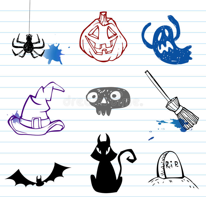 Download Halloween doodles stock vector. Image of dead, scull - 16435868