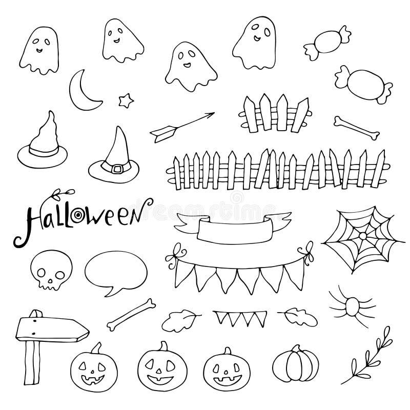 Halloween doodles set, pumpkins, spider webs, ghosts and more. Vector illustration stock illustration