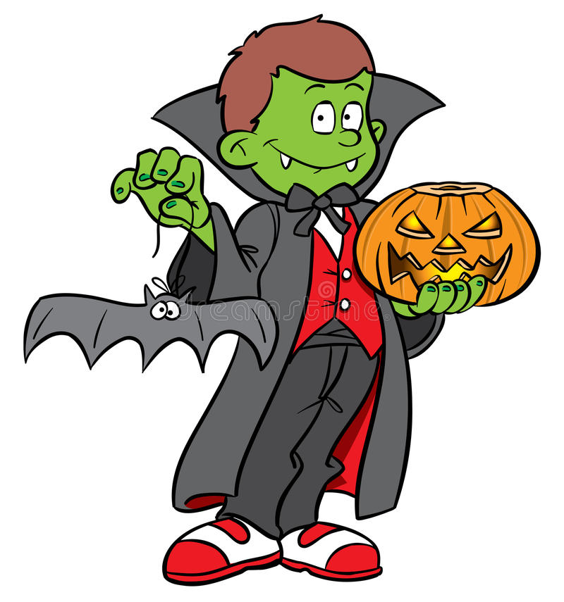 Halloween Dracula Costume. Cartoon illustration of a child wearing a halloween Count Dracula costume