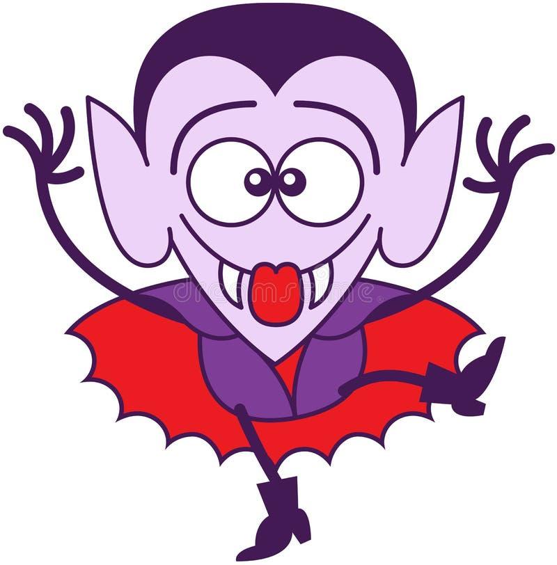 Halloween Dracula die grappige gezichten maken stock illustratie