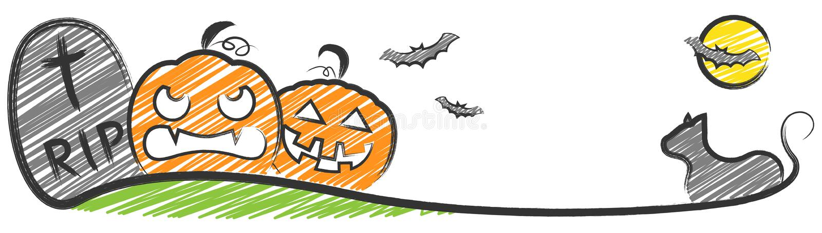 Halloween drawing isolated vector. Design royalty free illustration
