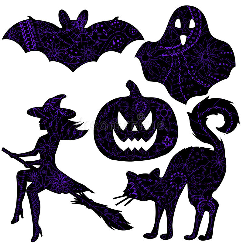 Halloween drawing silhouettes. Vector set of halloween drawing silhouettes stock illustration