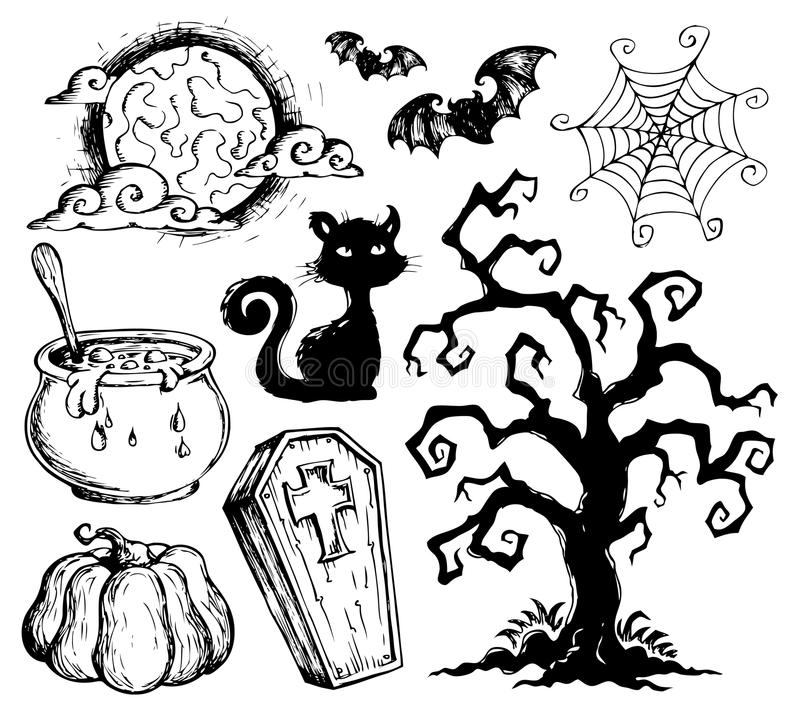 download halloween drawings collection 2 stock vector illustration of mystery moon 26443491 - Pictures Of Halloween Drawings