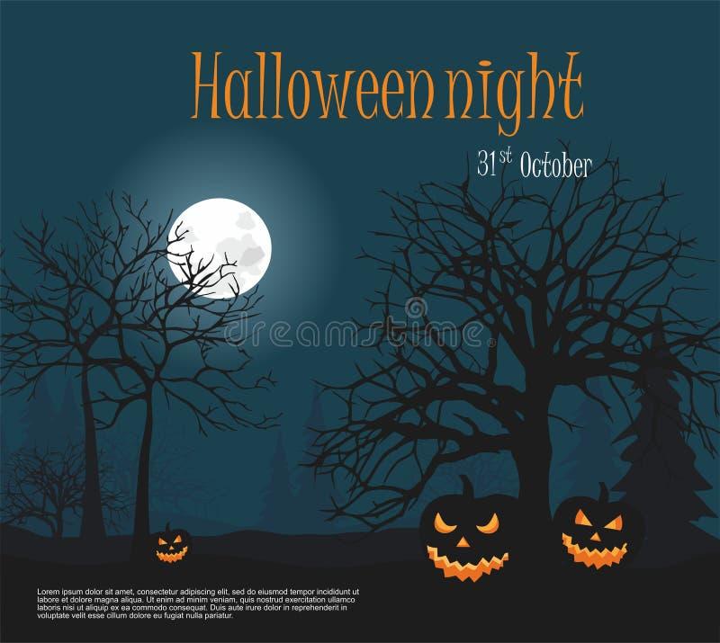 Halloween Drie Enge Halloween pompoen van de nacht bosachtergrond royalty-vrije illustratie
